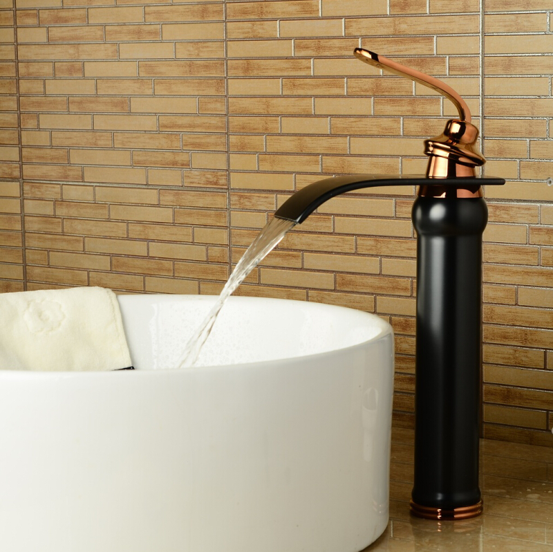 Black bathroom faucet waterfall basin mixer ORB oil brushed black waterfall basin faucet sink Mixer Tapbathroom sink faucet