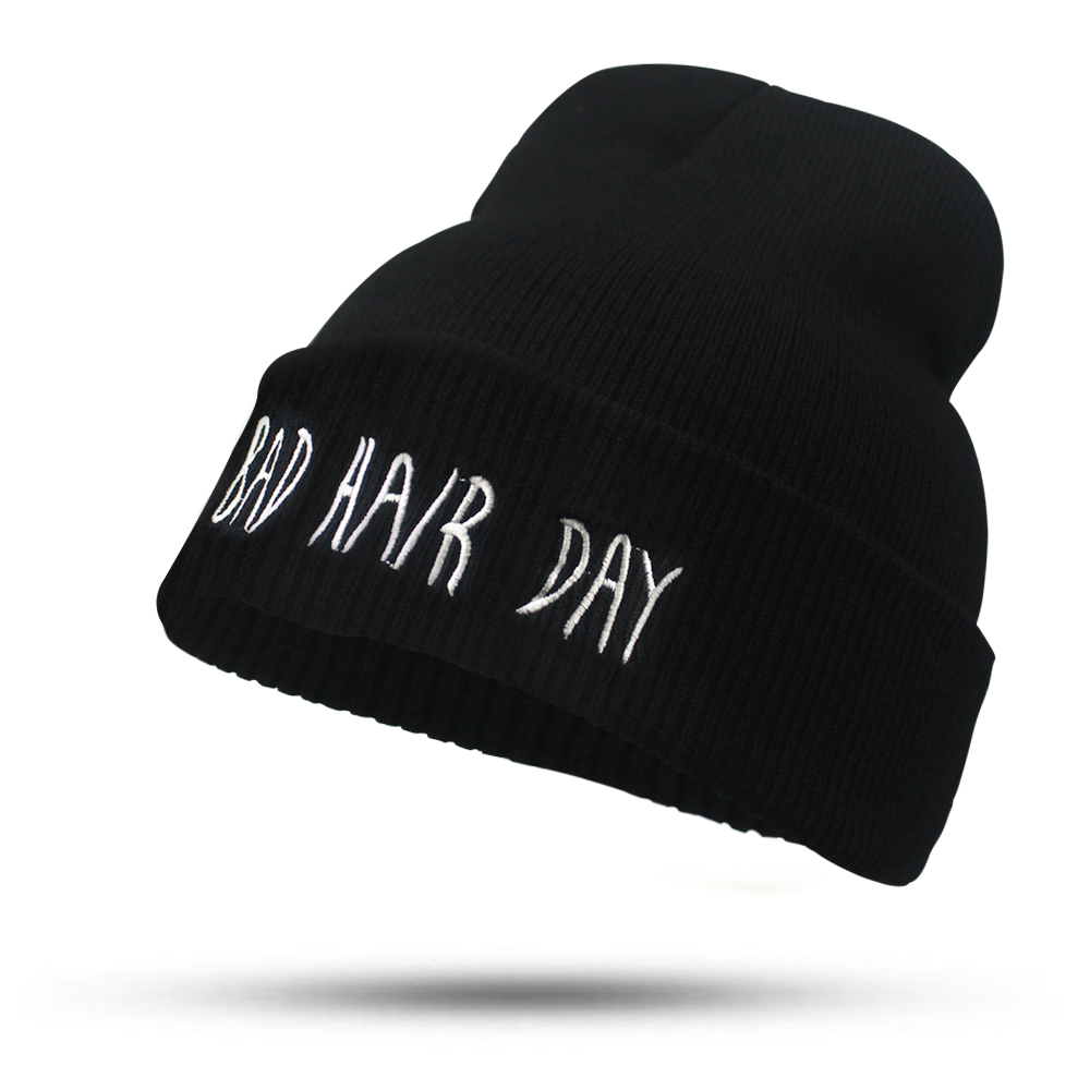 2017 Fashion Letters BAD HAIR DAY Hat for Women Girls Men Knitted Hats Female Black Autumn Winter Beanies bonnet Skullies Caps fine three dimensional five star embroidery hat for women girls men boys knitted hats female autumn winter beanies skullies caps