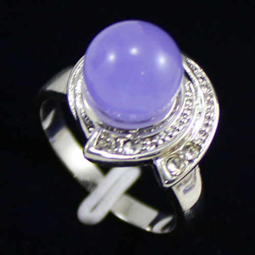 โนเบิล! 10มิลลิเมตรลูกปัดหยกสีม่วงเครื่องประดับแหวนผู้หญิง