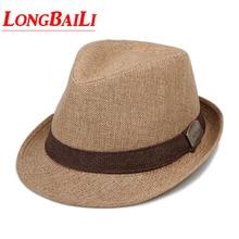 Summer Men Straw Fedora Hats Chapeu Masculino Sun Panama Trilby Caps Linen Jazz