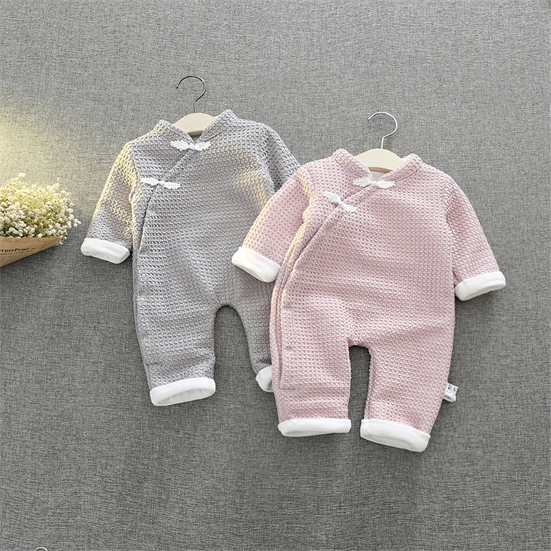 New Fashion Newborn Winter Baby Rompers Chinese Style Cotton Padded Infant Baby Girl Boy Clothes Thickening Jumpsuits Outerwear luxury good quality new fashion women zipper jumpsuit slim fit skinny jeans rompers pocket denim jumpsuits size sexy girl casual