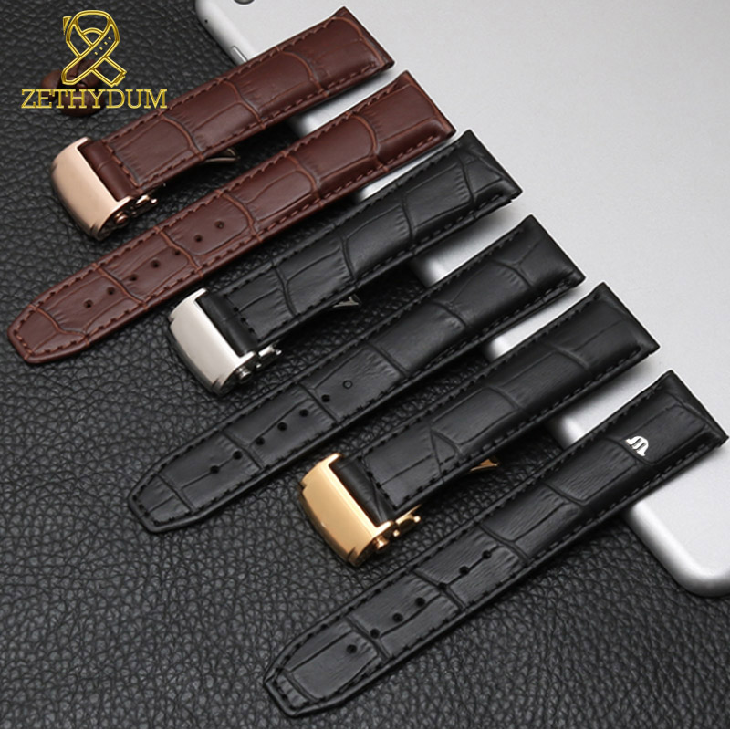 Genuine leather watch strap 20mm 22mm for MAURICE LACROIX watchband folding buckle leisure business cow leather <font><b>bracelet</b></font> image