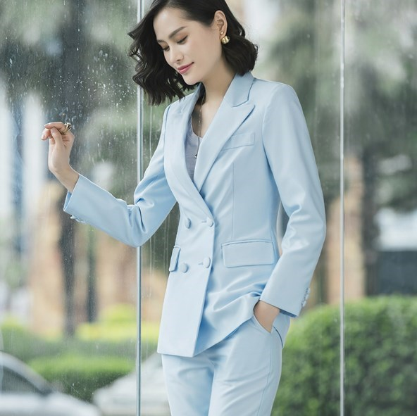 Women Double Breasted Blazer And Pants 2 Pieces Sets Ladies Office Wears Pants Suits Red Pink Blue Business Trousers Suit Woman