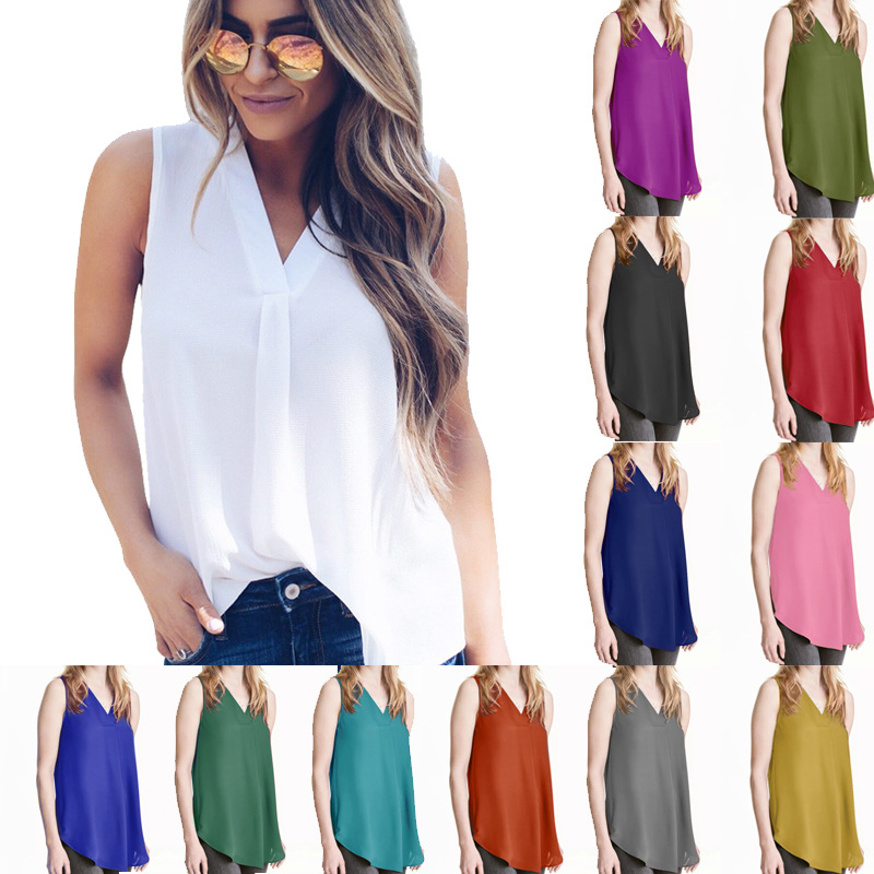 Summer Women Vest 2019 Sexy Ladeis V-neck Chiffon Tank Camis Casual Streetwear Shirts Female Simple Blouses Plus Size 5XL