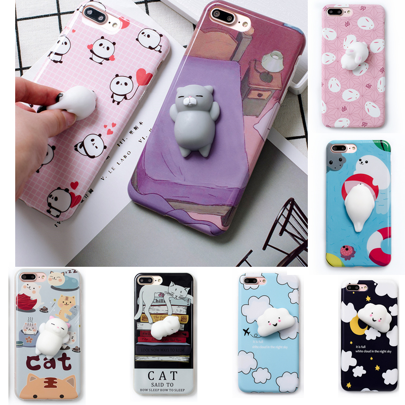 Squishy Cat Phone Case Iphone Se : Lovely 3D Cute Soft Silicone Cartoon rabbit panda Bear Cat sea lion Squishy phone case for ...