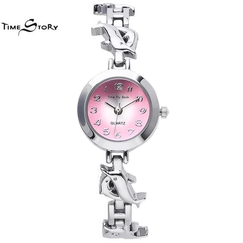 Brand TS Fashion Glory Anti clockwise Ladies Dress Watch Flying Dolphins Strap Quartz Watch Women Bracelet