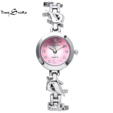 Brand TS Fashion Glory Anti-clockwise Ladies Dress Watch Flying Dolphins Strap Quartz-Watch Women Bracelet  Wrist Watches