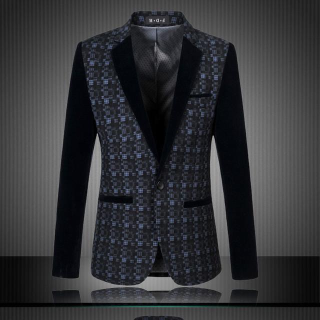Gran tamaño M-6XL nuevo otoño invierno hombres traje Casual vestido terno masculino chaqueta de terciopelo de la moda A0499