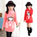 Korean Children Female's Girls Female Hair Long Shirt Winter Warm Kids Clothing Rose Red Pink Red Cartoon Thick Cotton
