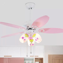 Retro ceiling fan with light control LED42 inch silent wood children bedroom living room