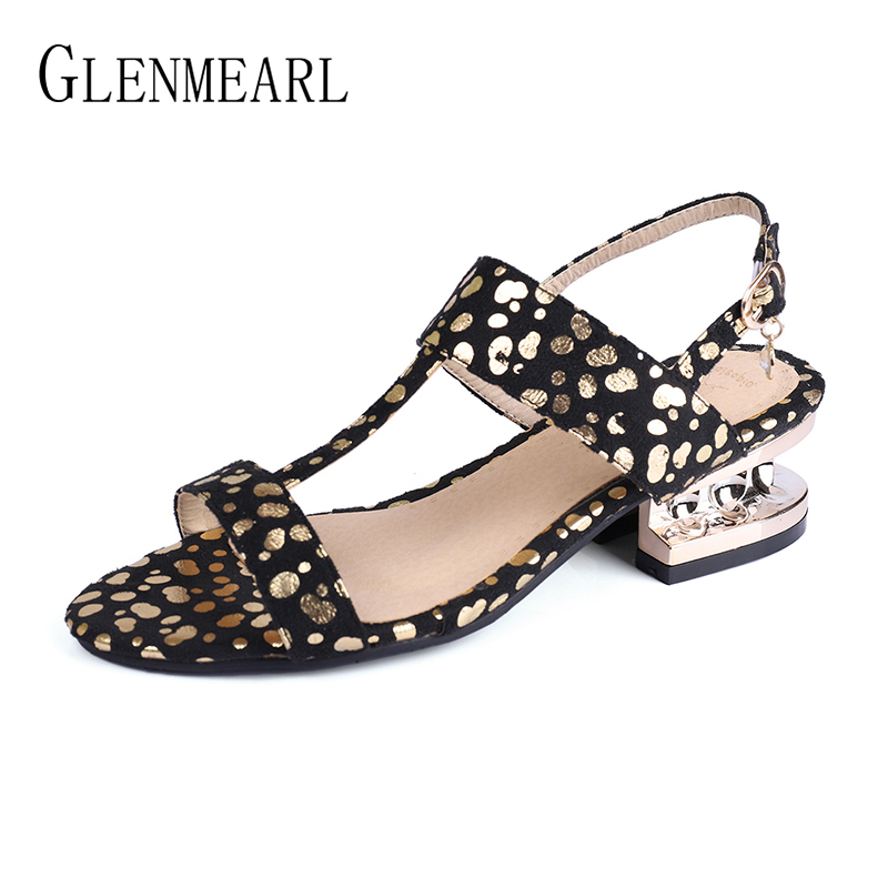 Fashion Women Sandals Summer Shoes Thick Heels Open Toes -9514
