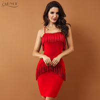 Adyce Runway Dress 2018 Fringe Tassel Bandage Dresses Wine Red New Night Club Evening Party Dress