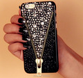 Hot zipper zip cristal bling capa para casos samsung galaxy s7 s7 edge s6 edge s6 s4 s5 nota 5 4 3 iphone 7 6 6 plus 5S 5 5c 4S 4