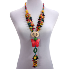 BeUrSelf Bohemian Necklace Ethnic Coconut Shell Butterfly Pendant Handmade Long Multi Color Wooden Beaded Necklace Drop Shipping недорого