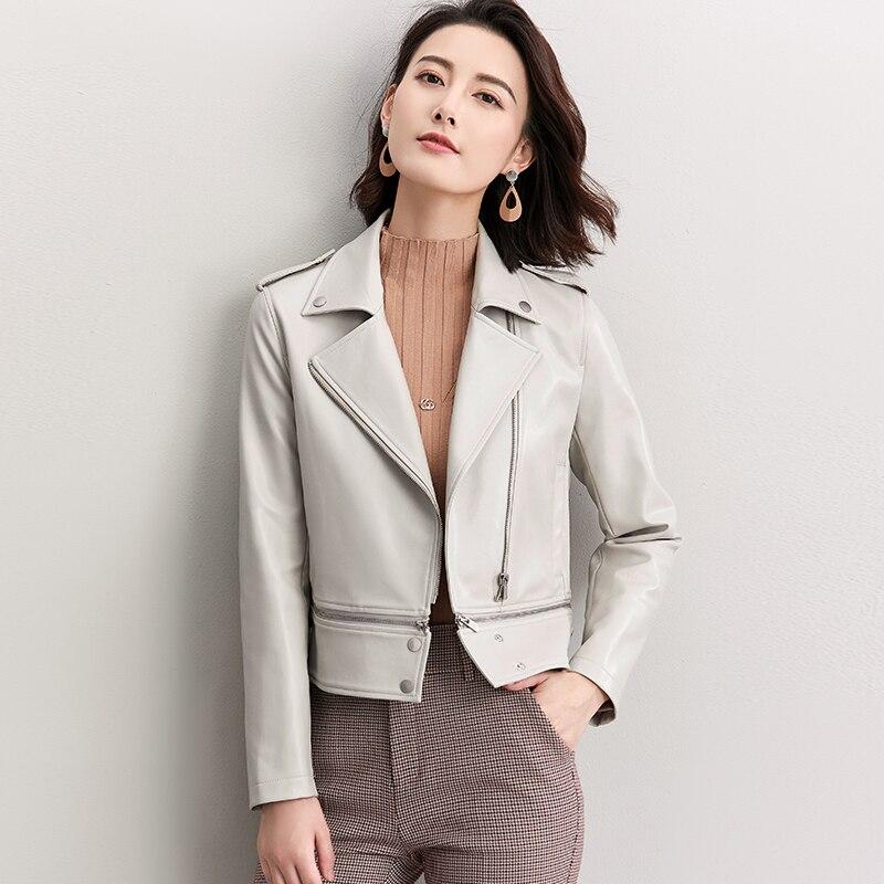 Spring Fashion Suit Collar Faux   Leather   Jacket Women 2019 New Arrival Detachable Hem Design Women's Short Zipper Biker Jacket