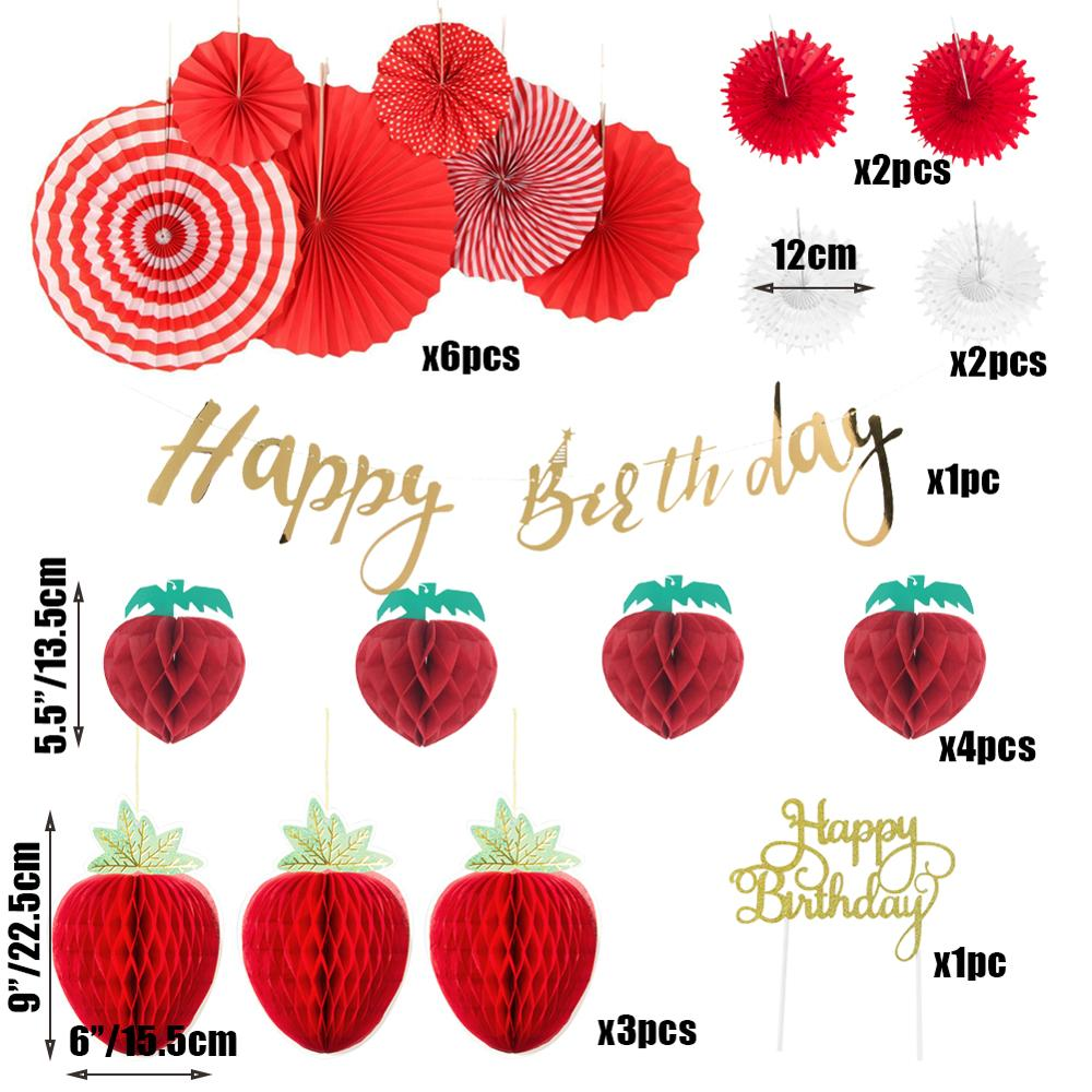 14pcs Girls Strawberry Theme Birthday Party Decoration Set Strawberries Honeycomb Happy Birthday Banner Cake Topper Paper Fans in Party DIY Decorations from Home Garden