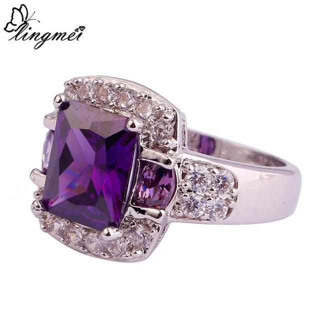 lingmei Fashion Purple Multi- AAA Silver  Ring Size 7 8 9 10 11 12 13 Charming Nice Women Jewelry Party Gift Wholesale