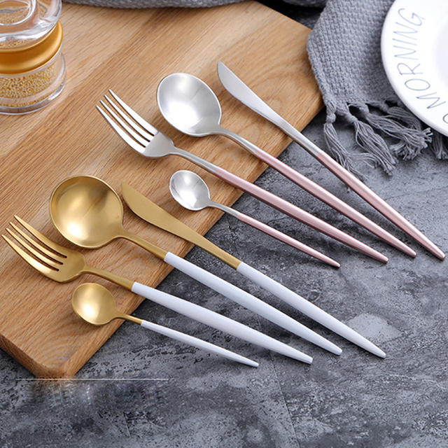 4PC Luxury Stainless Steel Cutlery Set Pink Golden Dinnerware Set Gold Plated Wedding Tableware Set Dining & 4PC Luxury Stainless Steel Cutlery Set Pink Golden Dinnerware Set ...