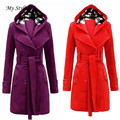 Women Coat My Stylish New High Quality Women Warm Winter Hooded Long Section Coat Belt Double Breasted Jacket Purple Red Nov 30