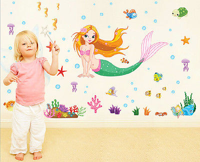 Aliexpress.com : Buy 50*70CM The Little Mermaid Wall Stickers For Kids  Rooms Home Decoration Diy 3d Window Sticker Wall Decal For Girls Room From  Reliable ...
