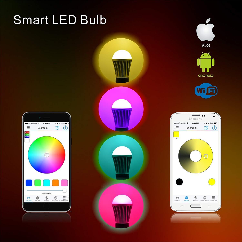 WiFi lumière de LED intelligente lampe ampoule E27 multicolore couleur changeante RGB Homekit Compatible avec Alexa, Google Home Assistant IFTTT - 3