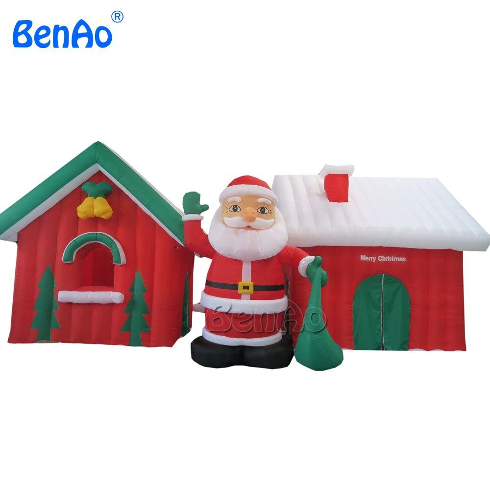 X020 Commercial gonflable père noël et bonhomme de neige décoration de maison de noël, noël gonflable grotte du père noël