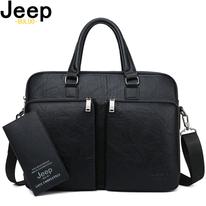 JEEP BULUO Large Capacity Leather Casual Shoulder Bag For Men Brand Man Briefcase  Laptop Business Bags Handbags High-end New