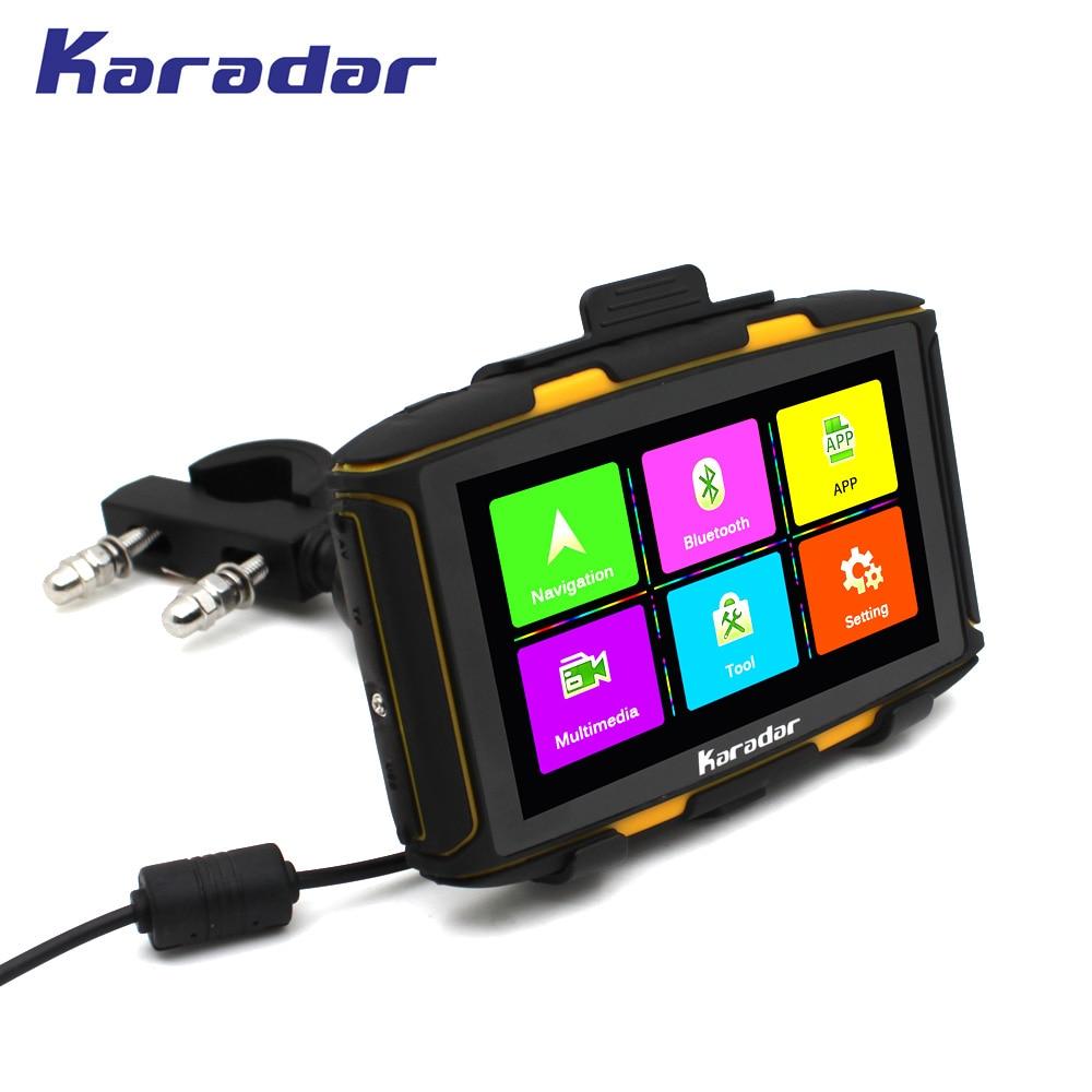 KARADAR 5 hüvelykes vízálló motorkerékpár GPS navigáció bluetooth4.0 FM WIFI AV-IN IPS 854 * 480 ellenállás képernyő RAM 1 GB