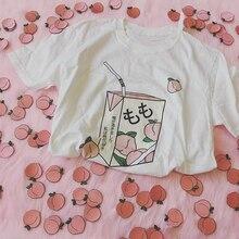 edd613042 Peach Juice Japanses Aesthetic Grunge T-Shirt Women Girls 90s Kawaii White  Tee Summer Casual