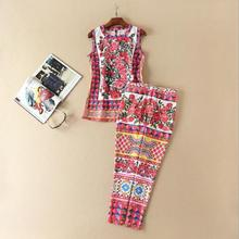Europe and the United States women's clothing in the spring of 2017 the new hot drilling rose printing jacket + feet pants suit