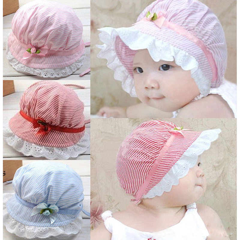 88203915a8d Stylish Cozy 3 10 Months Summer Cotton Baby Girls Lace Flower Sun Bucket Hat-in  Hats   Caps from Mother   Kids on Aliexpress.com