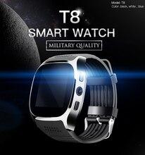 Montre intelligente Bluetooth pour hommes T8 avec emplacement pour carte Sim réveil pour caméra MTK6261D 380mah batterie pour IOS Android Smartwatch