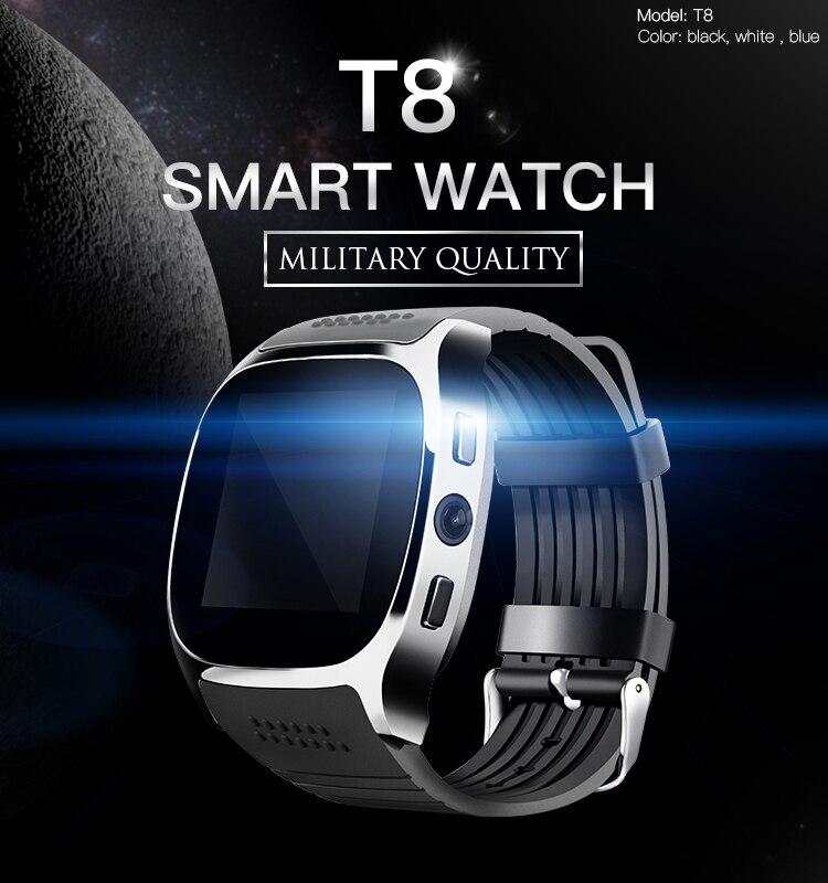 T8 homens crianças bluetooth relógio inteligente com slot para cartão sim câmera despertador mtk6261d 380mah bateria para ios android smartwatch