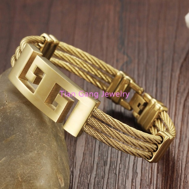 Charming Unisex 316L Stainless Steel Trendy Wristband Cable Wire Bracelet/Bangle Gold Plated Women/Men Love's Jewelry