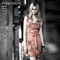 Punk Rave Double Color Plaid Sling Dress Gothic Style Black 100% Cotton Ladies Checked Dress sleeveless plaid dress Q-236