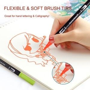 Image 5 - 듀얼 팁 브러쉬 펜 60 독특한 색상 레터링 펜 마커 브러쉬 Fineliner 팁 색칠 예술에 완벽한 Doodling Hand Lettering