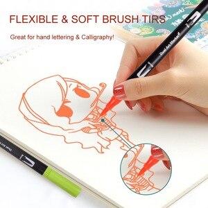 Image 5 - Canetas de escova de ponta dupla 60 cores originais marcadores de caneta de rotulação escova fineliner dicas perfeitas para colorir arte doodling mão rotulação