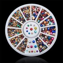 DIY nail art decorations Wheel 2mm 3mm mix color crystal Acrylic Nail Glitter Rhinestones Tools