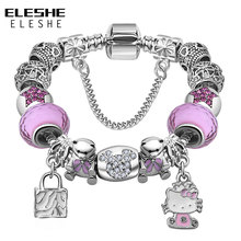 ELESHE Lovely Girls Jewelry Silver Color Women Bracelet Pink Blue Murano Glass Beads Crystal Kitty Charms