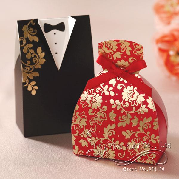 100Pc/Lot Bride and Groom Wedding Candy Box Red Black Color For ...