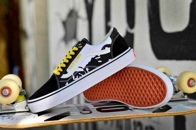 9813456a8323 Original VANS Beige graffiti model XW201 Classic Men and Womens Sneakers  canvas shoes