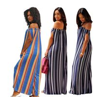 Sexy Striped Jumpsuits Summer Casual Boho Overalls Club Streetwear Off Shoulder One Piece Rompers Womens Jumpsuit F8126