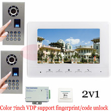 2v1 Waterproof(IP65) Fingerprint Fecognition Unlock Video Door Phone Intercom Entry System Doorbell Fingerprint Outdoor Camera!