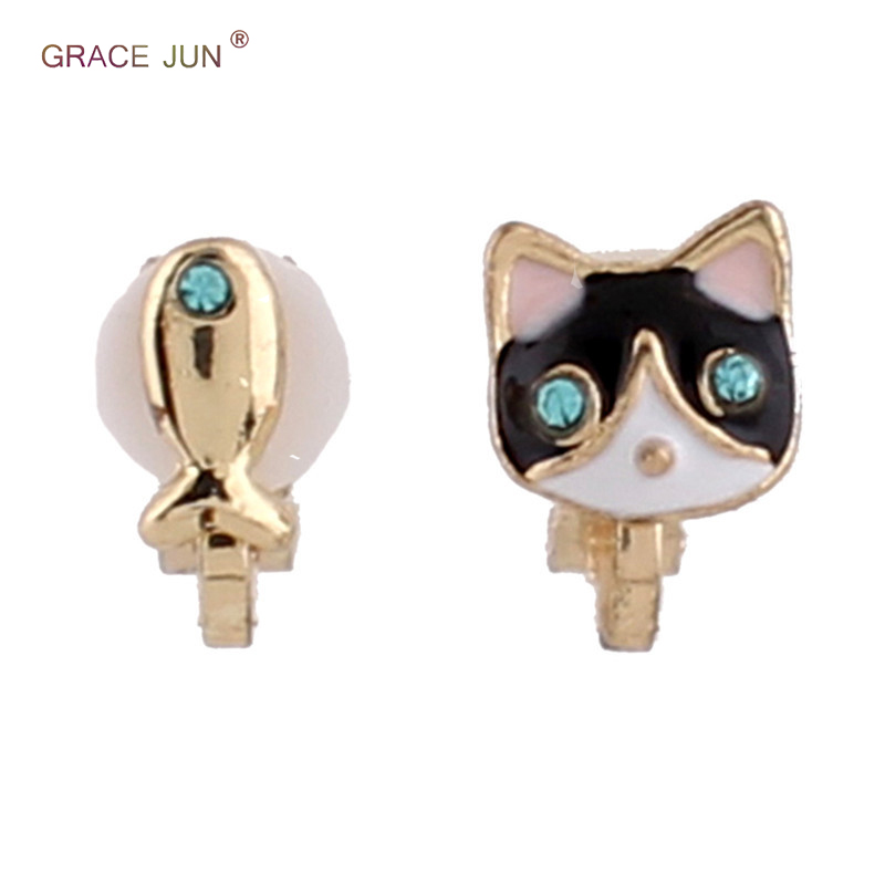 GRACE JUN Cute Small Cat Fish Blue Eyes Rhinestone Enamel Animal Clip on Earrings for Kids Party Birthday Neednt Ear Hole Ears