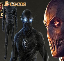 Express! CGCOS Anime Cosplay Costume The Flash 2 Zoom Costume Black Version Hunter Zolomon Uniform Game Cos Halloween Christmas
