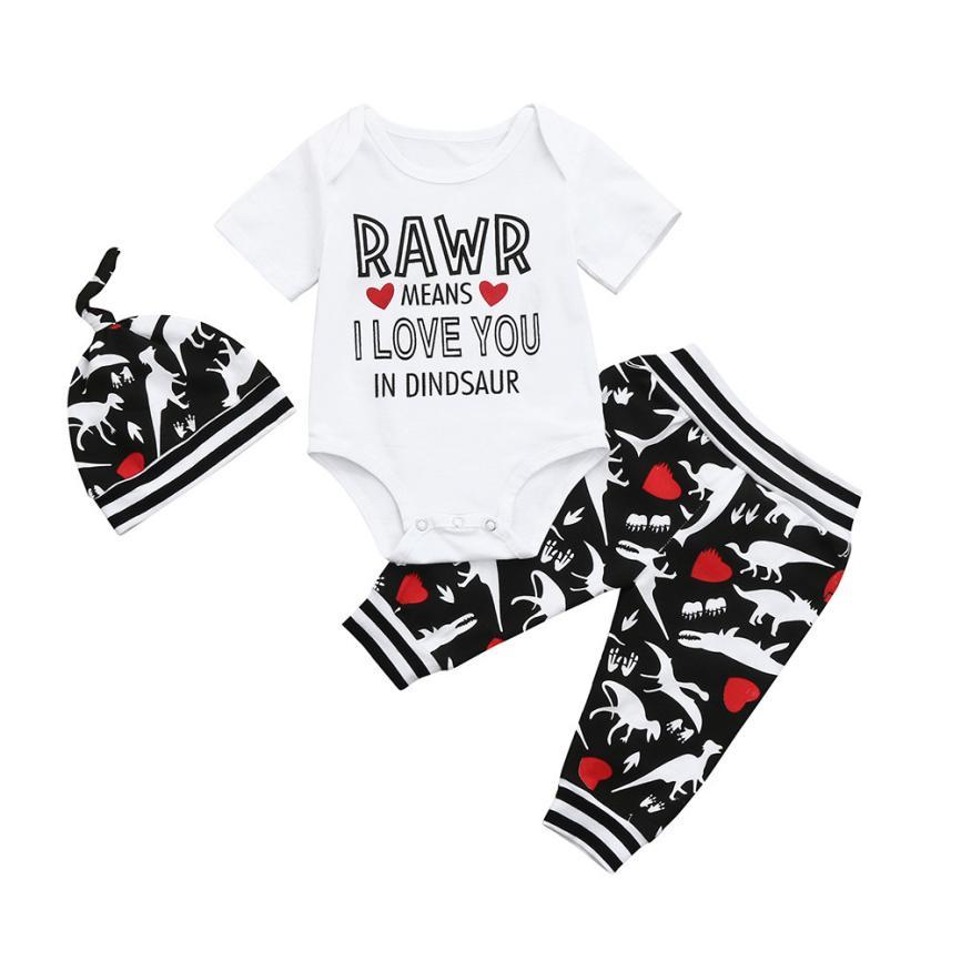 Мода новорожденных одежда для малышей мальчиков короткий рукав комбинезон с надписью + штаны + шапка динозавра одежда наряды 5,30 ...