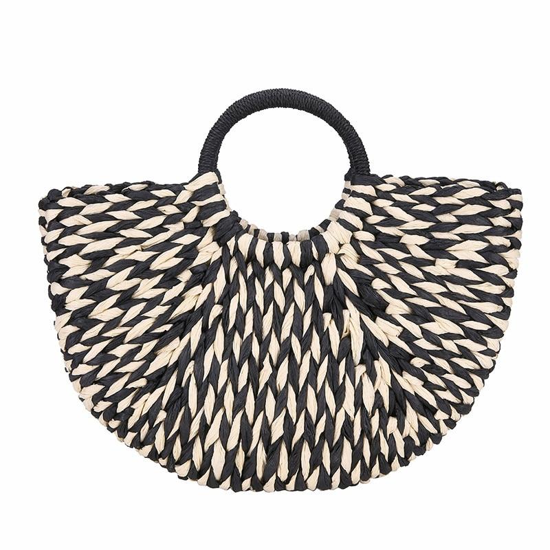 Fashion Black And White Straw Handbags Women Summer Beach Bag 2019 New Rattan Bag Handmade Vintage Woven Handbag For Women