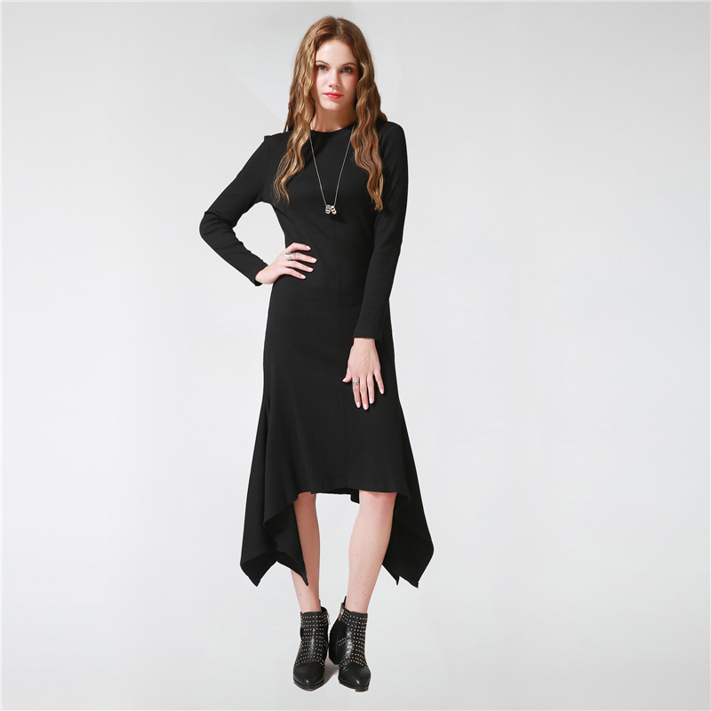 Autumn Winter Knitted 100% Cotton Maxi Sweater Dress Sexy Slim Black Elastic Fashion Female Elegant Evening Party Long Dresses new 2017 hats for women mix color cotton unisex men winter women fashion hip hop knitted warm hat female beanies cap6a03