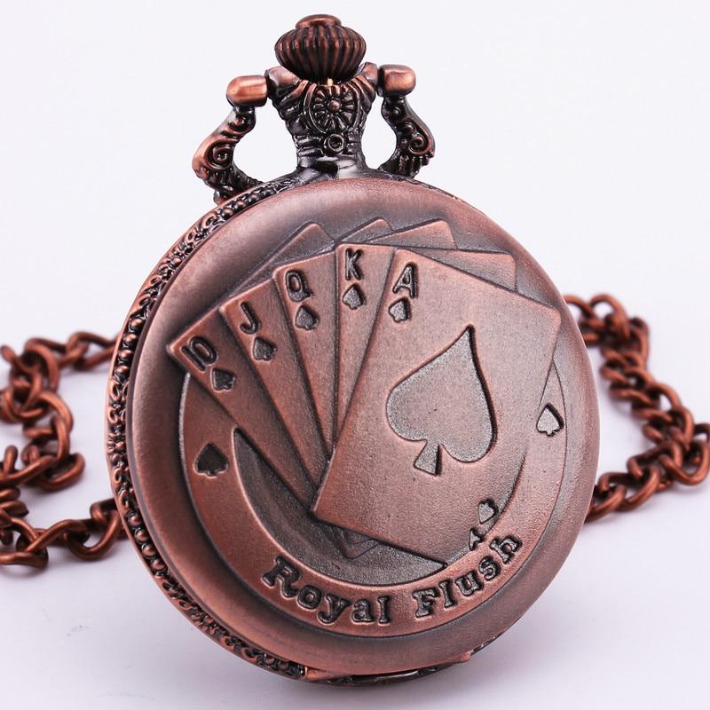 Las Vegas Poker Embossed Vintage Copper Bronze Quartz Pocket Watch Pendant Clock Long Chain Necklace Clock Men Boy Gift  Antique 03 vegas