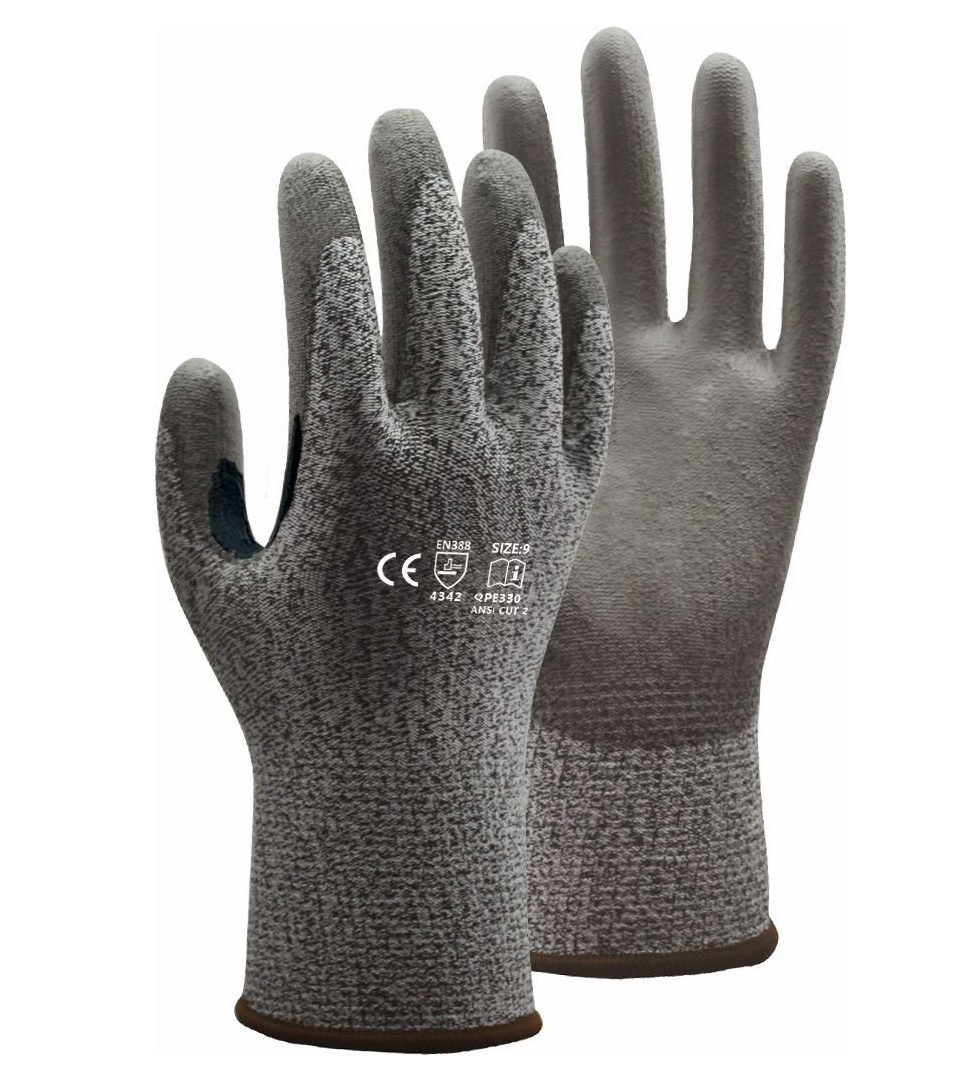 5 Grade Cut Resistance Safety Glove HPPE With PU Dipped Anti Cut Work Glove